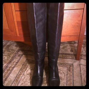 Loeffler Randall Over the Knee Black Leather Boots